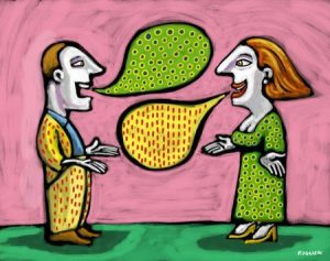 Man and woman with thought bubbles that match each other's clothing --- Image by © Alberto Ruggieri/Illustration Works/Corbis